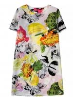 [พร้อมส่ง] D0261 ชุดเดรสคอกลมแขนสั้นลายดอกไม้งานสไตล์แบรนด์