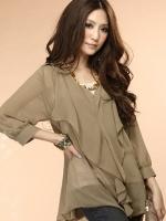 เสื้อแฟชั่นเกาหลี แขนยาว ผ้าชีฟอง สีำกากี (ใหม่ พร้อมส่ง) LadyShop4U