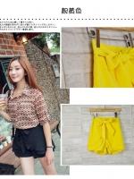 (สีเหลือง)กางเกงแฟชั่น กางเกงเกาหลี กางเกงขา สั้นเอวสูง สีเหลือง เอวยางยืด แถมสายผ้า สวย ดูดี น่ารัก (ใหม่ พร้อมส่ง) Ladyshop4u