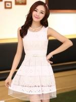 (สีชมพู) ชุดเดรสแซกสั้นแฟชั่นเกาหลี ลายฉลุ สีชมพู คอกลม แขนกุด กระโปรงบาน พร้อมเข็มขัด (ใหม่ พร้อมส่ง) ร้าน Ladyshop4u