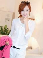 (สีขาว) เสื้อทำงานแฟชั่นเกาหลี คอวี ประดับกระดุมด้านหน้า3เม็ด กระเป๋าหน้า ผ้าชีฟอง แขนยาว (ใหม่ พร้อมส่ง) ร้าน LadyShop4U