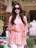 (สีส้ม)เสื้อยืดแฟชั่นเกาหลี คอกลม แขนกว้าง เสื้อทรงปล่อยสบายๆ สีส้ม (ใหม่ พร้อมส่ง) ร้าน LadyShop4U