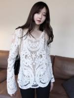 เสื้อแฟชั่นเกาหลี เสื้อผ้าลูกไม้ แขนยาว สีขาว เสื้อทำงาน เสื้อลำลอง เสื้อแฟชั่น (ใหม่ พร้อมส่ง) ร้าน LadyShop4U