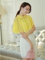 (สีเหลือง)ชุดเดรสสั้นแฟชั่นเกาหลี ชุดออกงาน เสื้อคลุมไหล่ผ้าชีฟองสีเหลือง ชุดเดรสด้านในสีขาวแขนกุด มีผ้าคาดเอว (ใหม่ พร้อมส่ง) ร้าน Ladyshop4u