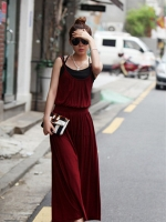 Pre Order (สีแดง)ชุดเดรสแซกยาวแฟชั่นเกาหลีเซ็กซี่ สายเดี่ยว สีแดง (ใหม่ พรีออเดอร์) ร้าน Ladyshop4u