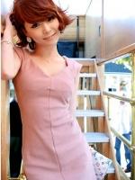 เดรสทำงาน เดรสออกงาน เดรสแฟชั่น เดรสเข้ารูป สไตส์เกาหลี ผ้า COTTON คอวี แขนกุด สีชมพู (ใหม่ พร้อมส่ง) ร้าน Ladyshop4u