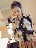 (สีดำเทา) เสื้อทำงานแฟชั่นเกาหลีออฟฟิศ เสื้อทำงานคอปก แขนสั้น เสื้อสีดำลายดอกสีเทา กระดุมผ่าหน้า มีเสื้อซับใน (ใหม่ พร้อมส่ง) ร้าน LadyShop4U