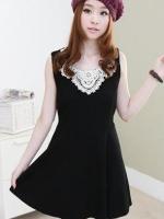 ชุดเดรสสั้น ชุดเดรสน่ารัก ชุดเดรสแฟชั่นเกาหลี ชุดเดรสลำลอง สีดำ คอกลม แขนกุด (ใหม่ พร้อมส่ง)ร้าน LadyShop4U