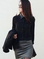 (สีดำ)เสื้อผ้าแฟชั่นเกาหลีทำงานออฟฟิศ สีดำ คอปก แขนยาว กระดุมหน้า คอและปลายแขนเสื้อเป็นหนัง( ใหม่ พร้อมส่ง) ร้าน LadyShop4U
