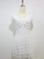 (สีขาว)เดรสแฟชั่น เดรสทำงาน เดรสสั้น เดรสเข้ารูป เดรสผ้าลูกไม้ สีขาว แขนผ้าลูกไม้โปร่ง (ใหม่ พร้อมส่ง) ร้าน LadyShop4u