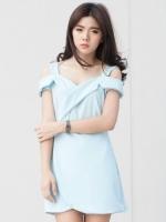 (สีฟ้า)ชุดเดรสแซกสั้นแฟชั่นเกาหลี สายเดี่ยว เว้าไหล่ ตัดต่อกระโปรง ซิปหลังอ(ใหม่ พร้อมส่ง) ร้าน Ladyshop4u