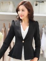 (สีดำ ไซส์ XL ) เสื้อสูททำงานออฟฟิศ สีดำ คอปก แขนยาว เอวเข้ารูป แต่งกระดุม1เม็ดที่เอว ผ้ามีน้ำหนัก มีซับใน เย็บเป็นระบายสองชั้นตามรูป ผ้าโพลีเอสเตอร์ ( ใหม่ พร้อมส่ง) ร้าน LadyShop4U