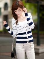 เสื้อคลุมสีฟ้าขาว ลายขวาง แขนยาว กระดุมผ่าหน้า ผ้ายืด (ใหม่ พร้อมส่ง) ร้าน LadyShop4U