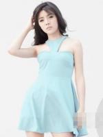 (สีฟ้า)ชุดเดรสแซกสั้นแฟชั่นเกาหลี คอวี เปิดไหล่ ซิปหลัง ผ้าโพลีเอสเตอร์ กระโปรงบาน (ใหม่ พร้อมส่ง) ร้าน Ladyshop4u