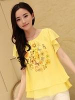 (สีเหลือง) เสื้อทำงานแฟชั่นเกาหลีออฟฟิศ ผ้าชีฟอง คอกลม แขนสั้นระบาย พิมพ์ลายด้านหน้า เสื้อไปทะเล (ใหม่ พร้อมส่ง) ร้าน LadyShop4U