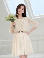 (สีครีม)ชุดเดรสแซกสั้นแฟชั่นเกาหลี ผ้าชีฟอง ด้านหน้าเป็นผ้าลูกไม้ คอประดับมุก แขนสามส่วนยาว เอวยืด (ใหม่ พร้อมส่ง) ร้าน Ladyshop4u
