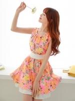ชุดเดรสสั้นแฟชั่นเกาหลี สีส้มอ่อนลายดอกไม้ ผ้าชีฟองมีซับใน ซิบหลัง แถมผ้าผูกเอวสีขาว (ใหม่ พร้อมส่ง) ร้าน Ladyshop4u
