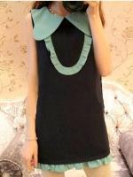 ชุดเดรสสั้น mini dress (ชุดลำลอง)แนววินเทจ คอปกรูปปีกผีเสื้อสีฟ้า แขนกุด เป็นชุดทรงกระบอกแต่งระบายสีฟ้าที่ปลายกระโปรง (ใหม่ พร้อมส่ง) ร้าน Ladyshop4u