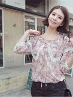 เสื้อทำงาน เสื้อลายดอก ปกเสื้อใหญ่ แขนสามส่วน สีชมพู (ใหม่ พร้อมส่ง) ร้าน Ladyshop4u