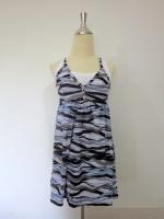 (สีเขียวฟ้า) ชุดไปทะเล ชุดเดรสสั้นสายเี่ดี่ยวสีน้ำตาล เย็บติดเสื้อด้านในสีขาว ไม่ต้องรีด คอวี (ใหม่ พร้อมส่ง)ร้าน LadyShop4U