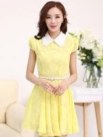 (สีเหลือง)ชุดเดรสแซกสั้นแฟชั่นเกาหลี ผ้าลูกไม้ คอปก แขนสั้น มีซับใน พร้อมเข็มขัด (ใหม่ พร้อมส่ง) ร้าน Ladyshop4u