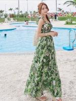 (สีเขียว) ไซส์ M ชุดเดรสแซกยาวแฟชั่นเกาหลีชุดไปเที่ยวทะเลสวยๆ เดรสยาวโทนสีเขียว สายเดี่ยวไหว่แบบผูก ลายดอกไม้ใบไม้ ช่วงอกยืด เอวยืดตามตัว กระโปรงปล่อยยาว เม็กซี่เดรส ผ้าชีฟอง(Maxi Dress) (ใหม่ พร้อมส่ง) ร้าน Ladyshop4u