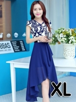 (สีน้ำเงิน ไซส์ XL) ชุดเดรสแซกยาวแฟชั่นเกาหลี ชุดทำงาน ชุดแซกประโปรงใส่ทำงาน คอวี แขนสั้น เสื้อสีขาวสลับลายดำ ผ้าชีฟอง พิมพ์ลาย กระโปรงยาวผ้าชีฟอง พร้อมเข็มขัด (ใหม่ พร้อมส่ง) ร้าน Ladyshop4u