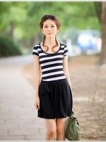 ชุดเดรสสั้นแฟชั่นเกาหลี เสื้อสีขาวลายขวางสลับดำ คอกลม แขนสั้น กระโปรงสีดำ มีโบว์ผูกด้านหน้า ผ้ายืด(ใหม่ พร้อมส่ง) ร้าน Ladyshop4u