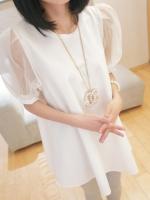ชุดเดรสสั้นเกาหลี สีขาว คอกลม แขนผ้าแก้ว ทรงสามเหลี่ยม ชุดเดรสแฟชั่น ชุดเดรสเกาหลีน่ารักๆ(ใหม่ พร้อมส่ง) ร้าน Ladyshop4u