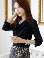 (สีดำ)เสื้อแฟชั่นเกาหลีทำงานออฟฟิศ เสื้อแขนยาว ประดับมุกที่คอ ด้านหน้าผ้าสองชิ้น ชิ้นนอกผ้าชีฟอง เสื้อผ้ายืด ( ใหม่ พร้อมส่ง) ร้าน LadyShop4U