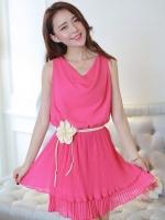 (สีชมพู)ชุดเดรสสั้น ชุดเดรสออกงาน แฟชั่นเกาหลี สีชมพู ชุดเดรสชีฟอง คอย้วย แขนกุด เอวยืด กระโปรงพลีทบาน พร้อมเชือกดอกไม้ผูกเอว (ใหม่ พร้อมส่ง) ร้าน Ladyshop4u
