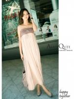 ( สีชมพูอ่อน ) เดรสแฟชั่น เดรสออกงาน เดรสยาว Maxi Dress ผ้า COTTON เกาะอก กระโปรงยาว (ใหม่ พร้อมส่ง) Ladyshop4u