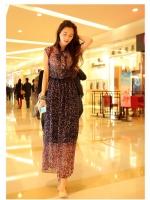 Pre order (สีน้ำเงิน)ชุดเดรสแซกยาวแฟชั่นเกาหลีนำเข้า ผ้าชีฟอง ลวดลาย (ใหม่ พรีออเดอร์) ร้าน Ladyshop4u