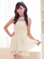 (สีเบจ)ชุดเดรสสั้น แฟชั่น เกาหลี น่ารัก สีโอรส คอกลมระบาย แขนกุดระบาย เอวยืด กระโปรงอัดพลีท น่ารักๆ(ใหม่ พร้อมส่ง) ร้าน Ladyshop4u