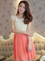 (สีส้ม) ชุดเดรสออกงาน ชุดเดรสสั้น ชุดเดรสน่ารัก แฟชั่นเกาหลี สีส้มอมชมพู เสื้อผ้าลูกไม้อย่างดี คอปกประดับมุก แขนกุด กระโปรงพลีทบาน ซิปข้าง มีซับใน (ใหม่ พร้อมส่ง) ร้าน Ladyshop4u