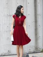 เดรสแฟชัน่ เดรสสั้น เดรสทำงาน เดรสออกงาน สีแดง คอวี แขนกุด เอวยางยืด กระโปรงบาน สวมใส่สบาย (ใหม่ พร้อมส่ง)ร้าน LadyShop4U