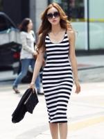 (สีขาวดำ)ชุดเดรสแซกสั้นแฟชั่นเกาหลี คอเว้า สายเดี่ยว สีขาวลายขวางสลับดำ ผ้ายืดเข้ารูป สายเดี่ยวปรับได้(เหมือนสายเสื้อในค่ะ) (ใหม่ พร้อมส่ง) ร้าน Ladyshop4u