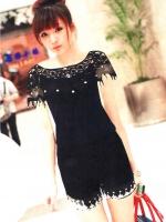 ร้าน LadyShop4u (สีดำ) เสื้อแฟชั่น เสื้อทำงาน เสื้อลำลอง เสื้อเซ็กซี่ สีดำ ผ้ายืด ด้านบนเป็น ลูกไม้ เซ็กซี่ (ใหม่ พร้อมส่ง)