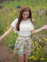 เสื้อทำงาน สีขาว ผ้าชีฟอง ปกเสื้อระบาย น่ารักแนวเกาหลี ใส่คู่กระโปรงบายดอก (ใหม่ พร้อมส่ง) ร้าน ladyshop4u