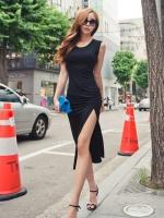 Pre Order (สีดำ)ชุดเดรสแซกยาวแฟชั่นเกาหลี คอกลม แขนกุด ผ่าข้าง เข้ารูป (ใหม่ พรีออเดอร์)ร้าน Ladyshop4u