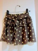 กระโปรง+กางเกง กระโปรงแฟชั่น กระโปรงทำงาน กระโปรงสั้น กางเกงกระโปรง ลายจุด สีน้ำตาล กางเกงด้านในสีดำ ดูดี สวย (ใหม่ พร้อมส่ง) ladyShop4U