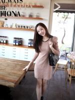 เดรสสั้น เดรสเข้ารูป เดรสผ้ายืด คอกลม สีน้ำตาล แขนยาว (ใหม่ พร้อมส่ง) ร้าน Ladyshop4u