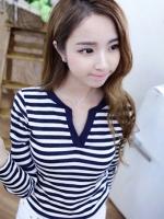 Pre order (สีน้ำเงินขาว)เสื้อแฟชั่นนำเข้าเกาหลี แขนยาว คอวี (ใหม่ พรีออเดอร์)ร้าน LadyShop4U