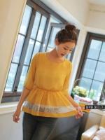 เสื้อผ้าชีฟอง สีเหลือง คอกลม แขนสามส่วน จั๊มเอว เสื้อยาวปิดสะโพก (ใหม่ พร้อมส่ง) ร้าน Ladyshop4u