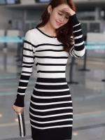 (สีขาวดำ)ชุดเดรสแซกสั้นแฟชั่นเกาหลี สีขาวลายขวางสีดำ คอกลม แขนยาว ผ้ายืด เข้ารูป (ใหม่ พร้อมส่ง) ร้าน Ladyshop4u