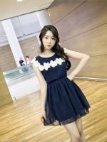 ชุดเดรสทำงาน เดรสแฟชั่น เดรสออกงาน เกาหลี ผ้าชีฟอง เนื้อดี สีน้ำเงินกรมท่า แต่งดอกไม้สีขาว รอบคอเสื้อ จั๊มยางยึดที่เอว (ใหม่ พร้อมส่ง) ร้าน Ladyshop4u