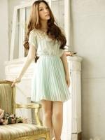 ชุดเดรสทำงาน ผ้าชีฟอง สีเขียว จั้มเอว หน้าประดับด้วลูกไม้สีขาว (ใหม่ พร้อมส่ง) ร้าน Ladyshop4u