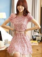 (สีตามรูป) ชุดเดรสแซกสั้นแฟชั่นเกาหลี ชุดเดรสลายดอกไม้ คอกลม แขนสั้น กระโปรงบาน ผ้าตาข่าย ซิปหลัง (ไม่มีเข็มขัด )(ใหม่ พร้อมส่ง) ร้าน Ladyshop4u