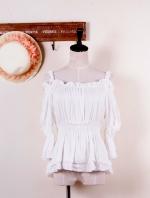 เสื้อแฟชั่น เสื้อลำลอง เสื้อเปิดไหล่ จั๊มแขน จั๊มเอว สีขาว (ใหม่ พร้อมส่ง) LadyShop4U