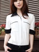 (สีขาว) เสื้อเชิ้ตเกาหลีแฟชั่นทำงานสีขาว เสื้อเชิ๊ตทำงานคอปกสีดำ แขนสามส่วน กระดุมหน้า กระเป๋าหน้า (ใหม่ พร้อมส่ง) ร้าน LadyShop4U